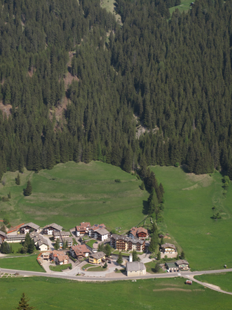 a nice aerial view of Fontanazzo, little town of the Dolomites